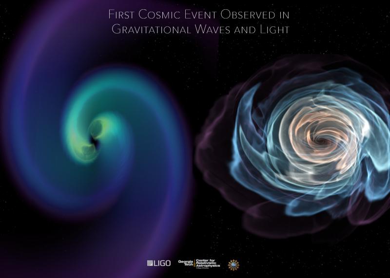 1億3000萬光年外的長蛇座NGC 4993星系,兩顆中子星從彼此環繞到相互撞擊(LIGO)