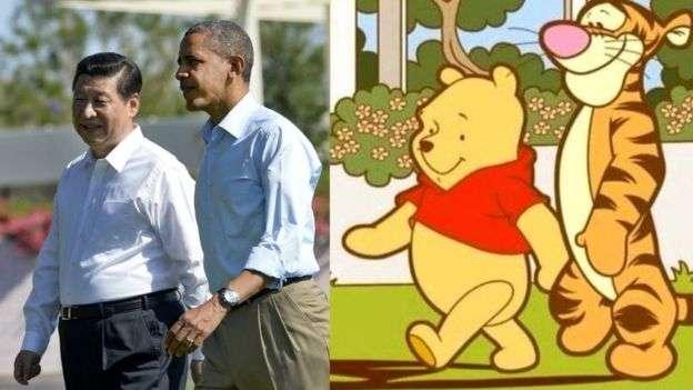 這張圖片,將習近平與前美國總統歐巴馬比作小熊維尼與跳跳虎,亦遭中國當局屏蔽。