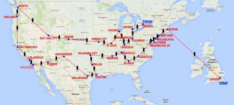 美國退役軍人、刀鋒跑者瓊斯31日連環馬拉松的雄心計畫。(圖/www.robjonesjourney.com)