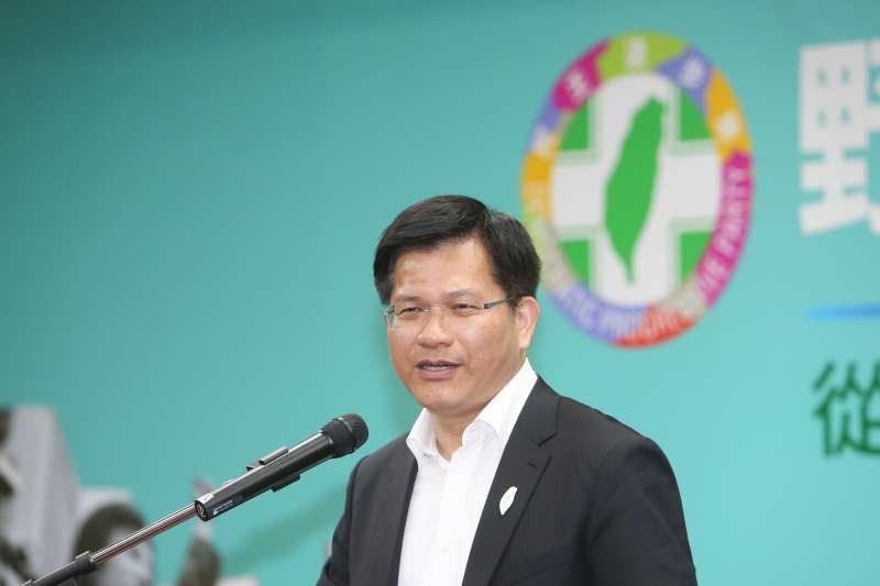 台中市長林佳龍出席農委會副主委翁章梁回鄉參選嘉義縣長記者會。(陳明仁攝)