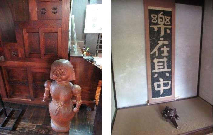 左圖中的後方箱型階梯是濱田庄司的入厝禮,右圖為和室內的掛軸(圖/秋禾提供)