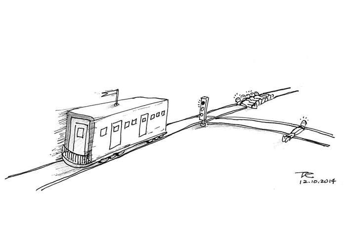 殺死1名無辜之人就能救5個人,你願意嗎?這是著名的「電車難題」。(取自www.cuhk.edu.hk)