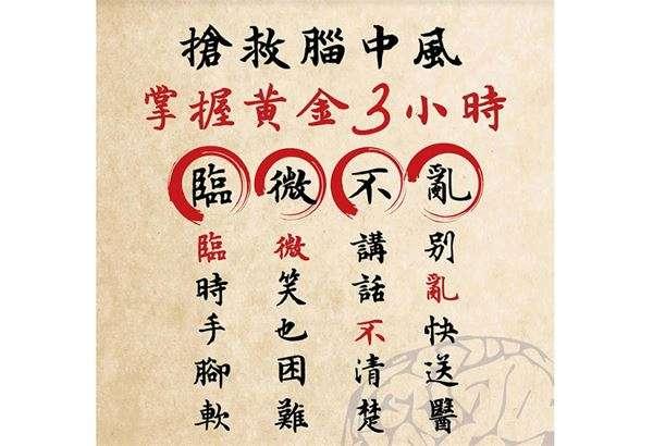 腦中風徵兆口訣:「臨『微』不亂」。(圖/華人健康網提供)