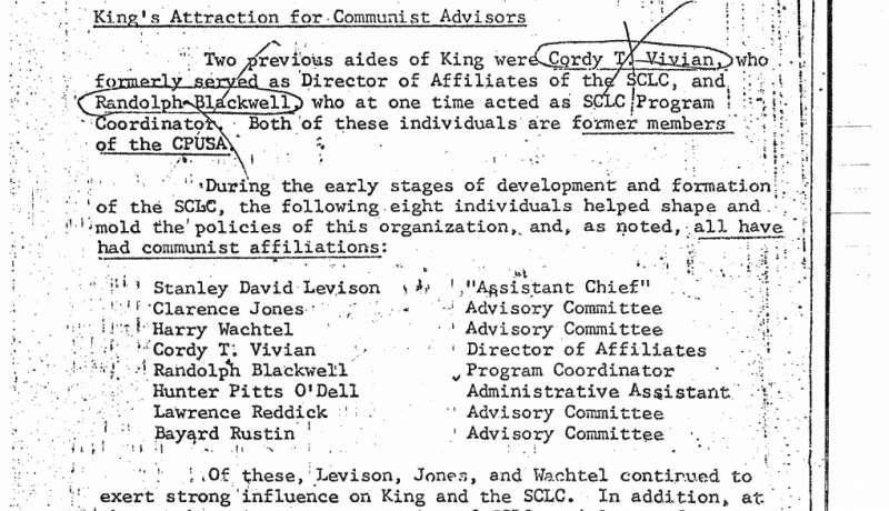 FBI報告的其中一頁,編列南方基督教領袖會議關聯密切人士,據報告,他們都有共產主義傾向。(圖取自美國國家檔案局)