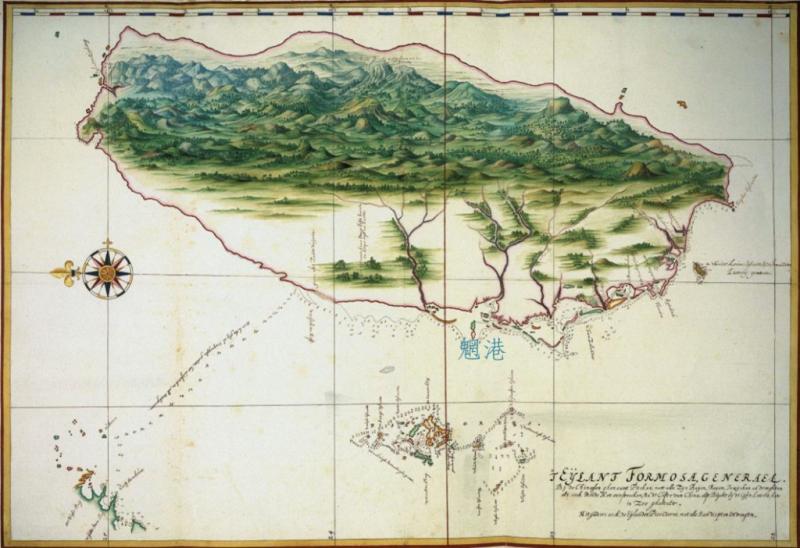 1630 年代荷蘭人 Johannes Vingboons 繪製的臺灣暨澎湖群島地圖。可看到魍港這個重要門戶。(圖/《解碼臺灣史 1550-1720 》,翁佳音、黃驗提供)