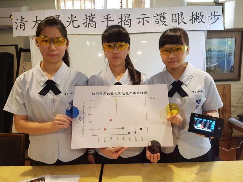 曙光女中王孟涵、楊珮暄及李采臻三位同學研究發現,黃色鏡片最具保護眼睛的效果。(圖/方詠騰攝)