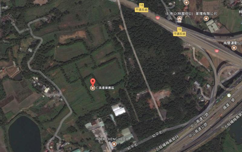 楊梅仁美與其他8處民間開發工業區,被經濟部列為民國110-111年的66公頃儲備用地。(取自Google Map)