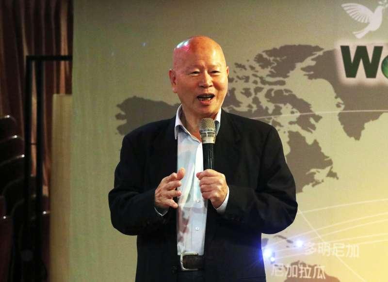 20171112-世界和平宣言暨新大學政論網站下午舉行成立酒會,前民進黨主席許信良出席致詞。(蘇仲泓攝)