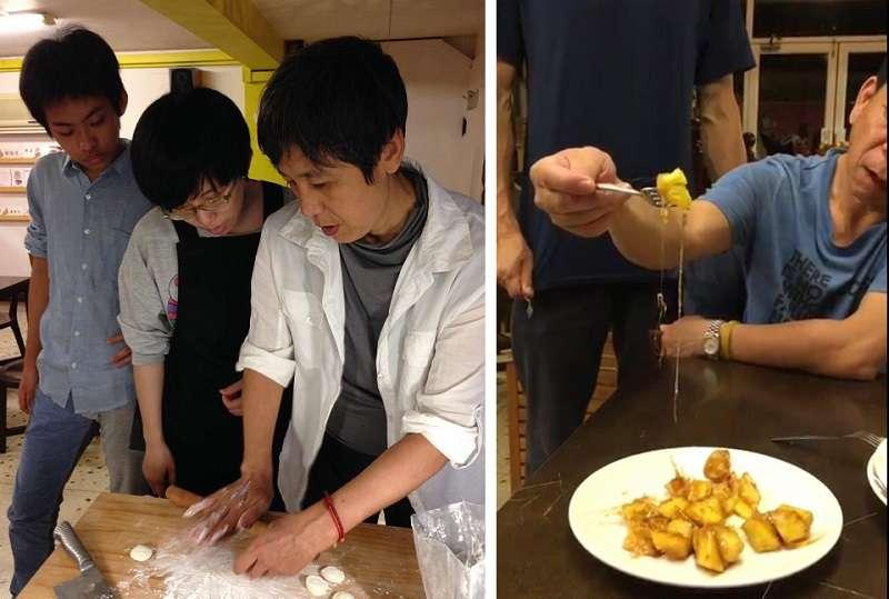 包餃子拔絲地瓜,正在拉絲的是阿澤的手。(寇延丁提供)