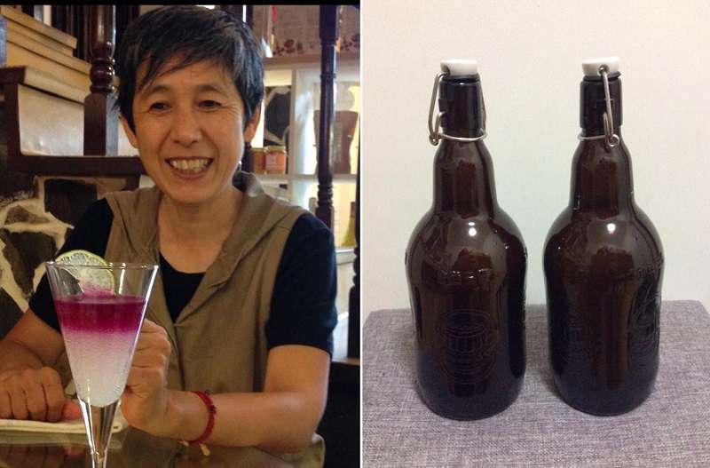 揮別台灣,行囊帶著兩只酒瓶。這一路,「民主釘子酒」陪著作者走遍台灣。(寇延丁臉書)
