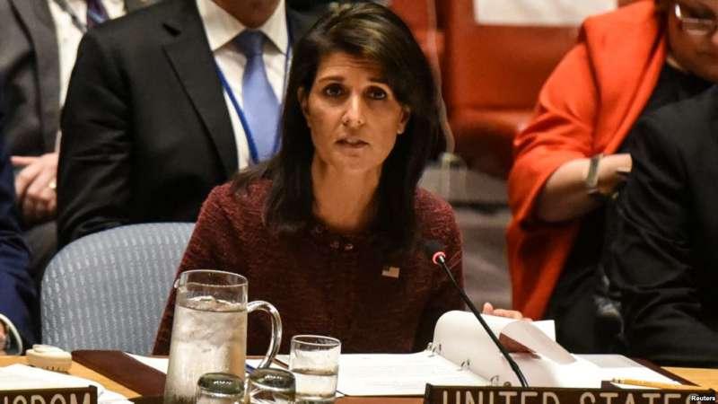 美國常駐聯合國代表海莉在紐約聯合國總部安理會上發言。(圖/美國之音資料照)