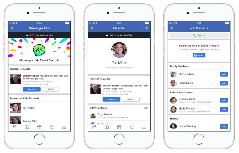 Facebook推出專為6-12歲孩童打造的訊息服務Messenger Kids,讓父母擁有管控權力。(圖/Facebook提供)