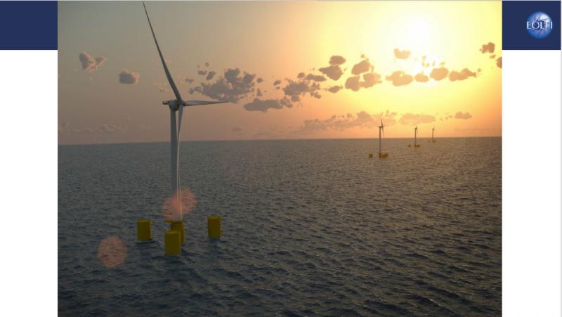 法國專題-EOLFI在法國西海岸浮動式離岸風電的示意圖(EOLFI提供)