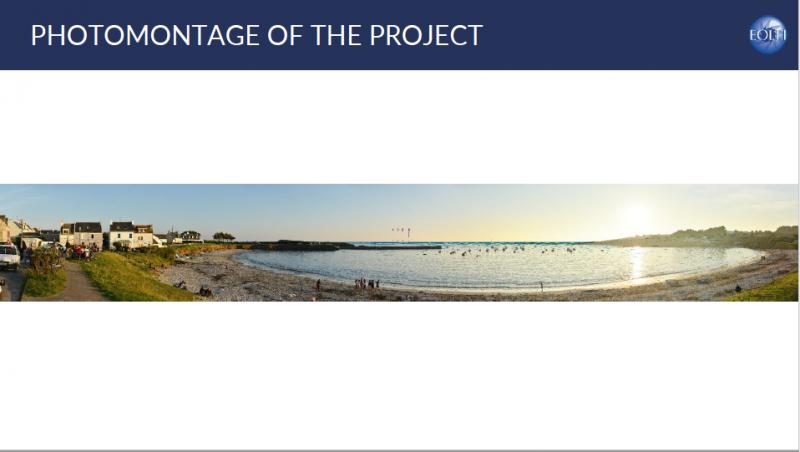 法國專題-EOLFI以合成方式模擬風機裝設後的景觀以和民眾說明(EOLFI提供)