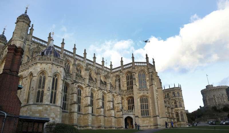 英國哈利王子與未婚妻梅根.馬克爾將於溫莎城堡裡的聖喬治教堂成婚。(美聯社)