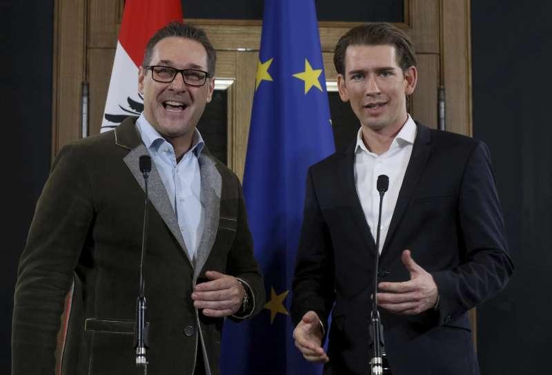 奧地利保守派的人民黨和極右派自由黨15日達成聯合執政協議(AP)