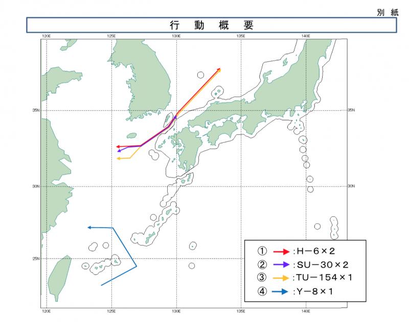 中國軍機穿越對馬海峽與繞行台灣的軌跡圖。(統合幕僚監部)