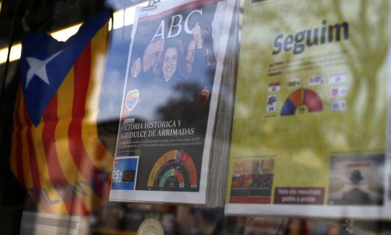 21日加泰隆尼亞議會選舉出爐,獨派政黨贏得過半席次。(美聯社)
