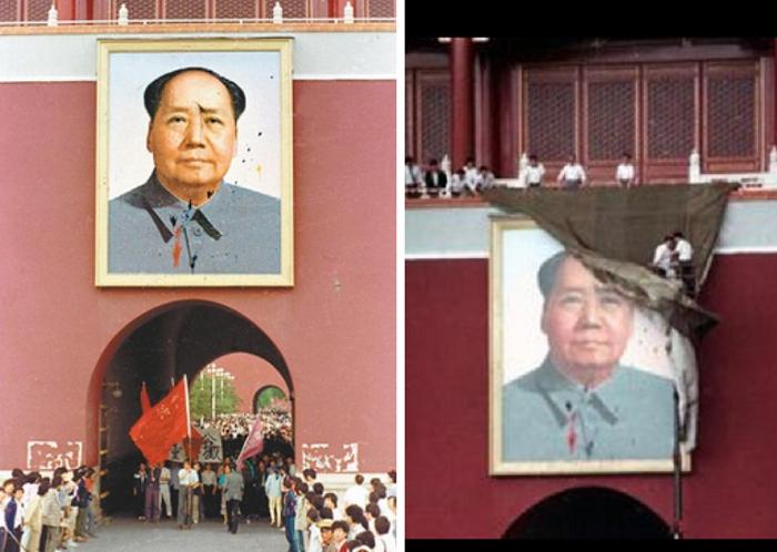 遭到顏料汙損的毛澤東畫像(左,維基百科),工人們以綠色軍毯覆蓋遭到顏料汙損的毛澤東畫像(右,「六四」回眸50圖∕維基百科)。