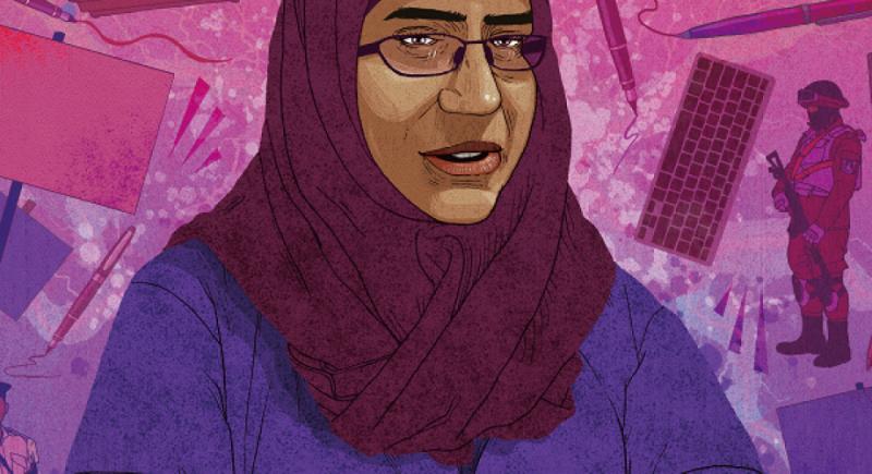 埃及婦女哈南(Hanan Badr el-Din)的丈夫於2013年7月失蹤,她為了尋找丈夫,揭露上百人在埃及失蹤,卻被政府迫害。(取自國際特赦組織)