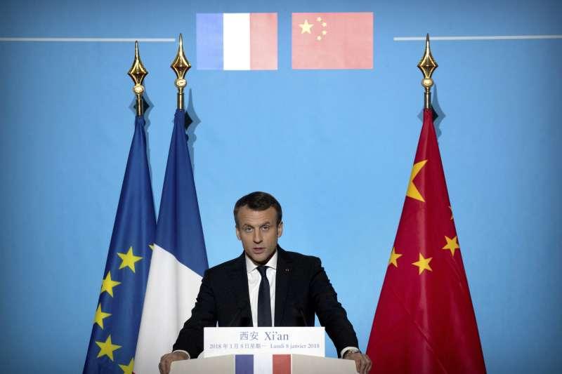 法國總統馬克宏8日在中國西安的大明宮發表演說(AP)