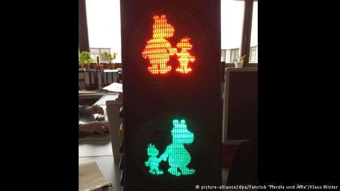 德國的「小馬與小猴」(Pferdle und Äffle)紅綠燈。(德國之聲)