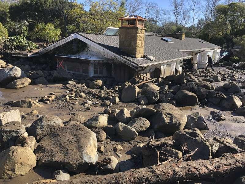 加州土石流。(美聯社)
