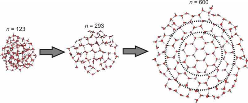 圖二lydiabose。普朗克研究中心的化學家指出,要形成冰晶最少需要275個水分子。(取自Science)