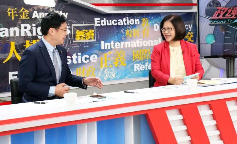 20180118-民視舉辦民進黨高雄市長黨內初選辯論會,趙天麟、管碧玲。(蘇仲泓攝)