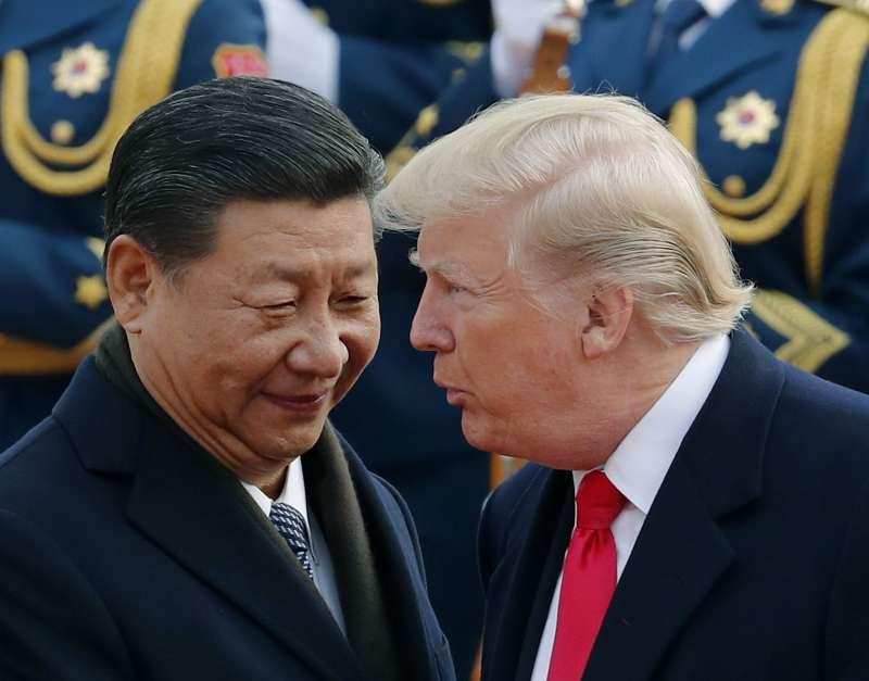 2017年11月9日,川普與習近平在北京進行川習會(AP)