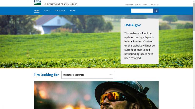 2017年1月20日,美國聯邦政府關門,農業部網站停止更新(USDA)