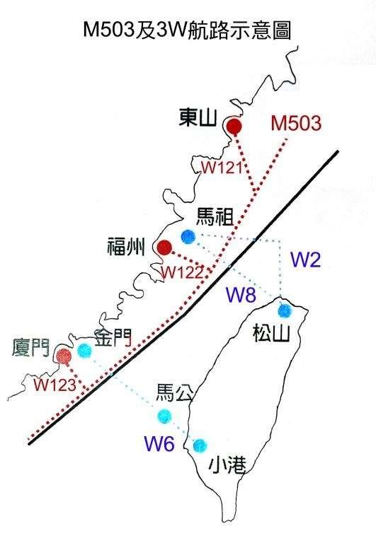 M503及3W航路示意圖(大眾版)─取自陸委會官網─M503及3W航路專區。