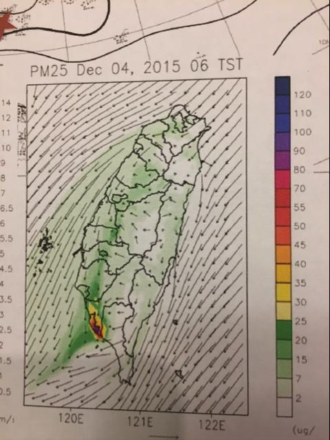 20180122-鄭教授之投影片中明白顯示在「東北季風尾流弱風區」之南部空污遠較北部嚴重。(作者陳立誠提供)