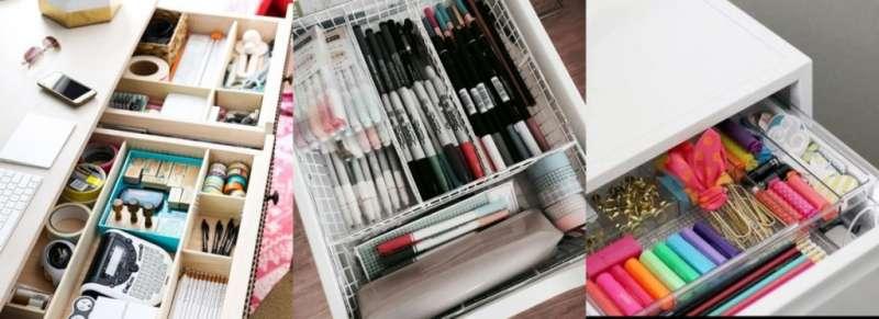 抽屜收納盒是很好的收納小工具,可以將文具及事務用品分門別類擺放好,抽屜不會雜亂無章(圖/女子學提供)