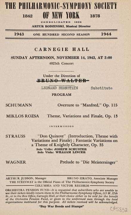 指揮大師伯恩斯坦(Leonard Bernstein)1943年揚名立萬的音樂會(Wikipedia / Public Domain)