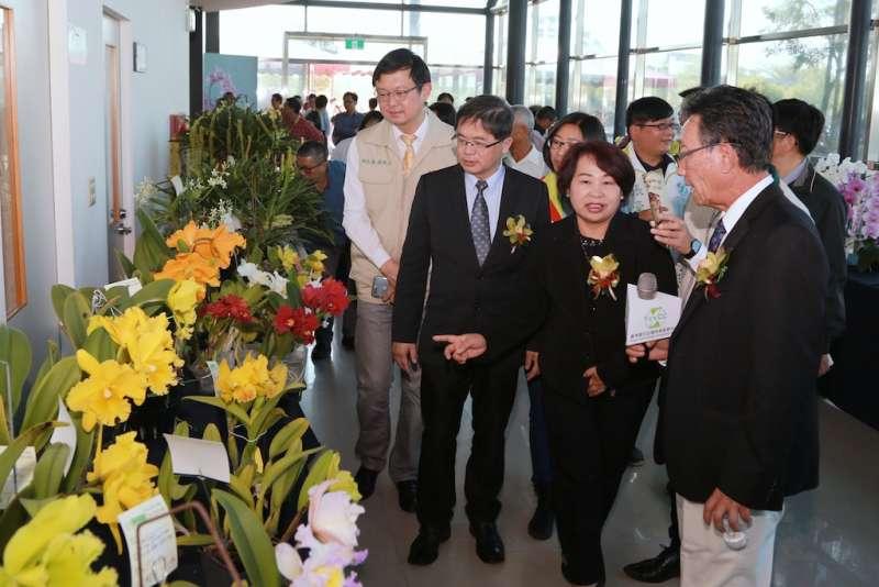 台南市長參觀蘭花評比作品(圖/台南市政府新聞及國際關係處提供)
