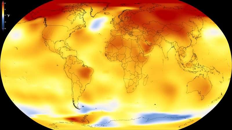 全球暖化危機持續惡化,2017年地表均溫創下史上第二高記錄(NASA)