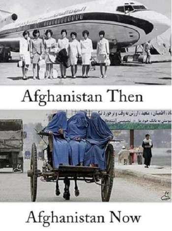 Then vs. Now. 網路上流傳的阿富汗今昔對比圖。諷刺的是,第二張圖右下角還保留著PS痕跡。(圖/澎湃新聞提供)