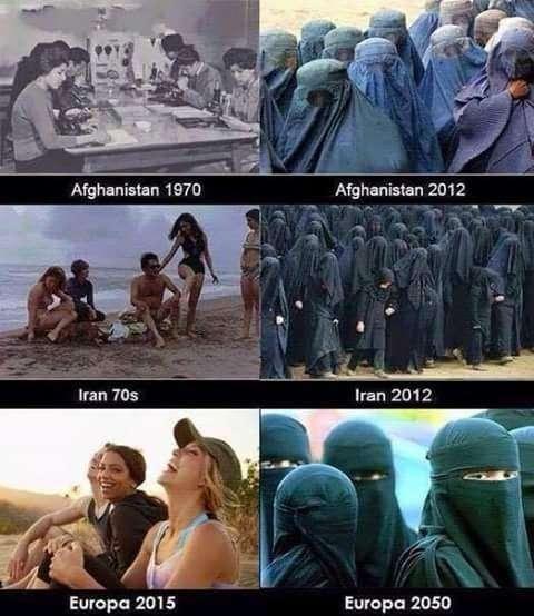 """歐洲右翼網站和Twitter上廣為流傳的一幅圖片,稱阿富汗和伊朗的""""伊斯蘭化""""最終會降臨到歐洲地區。(圖/澎湃新聞提供)"""