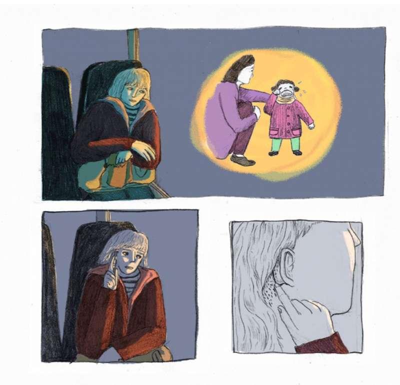 20180126-劉倩帆獲法國安古蘭數位漫畫獎第二名,圖為其得獎作品《潛水》(Plongée)。(取自劉倩帆作品網站)