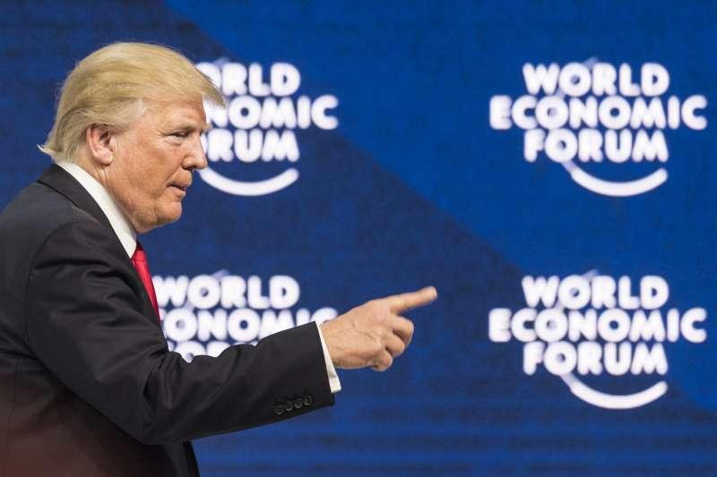 美國總統川普岀席2018瑞士達沃斯經濟論壇。(美聯社)