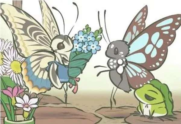 明信片中左邊的是鳳蝶,而右邊的拎包隨從是斑蝶。(圖/澎湃新聞)