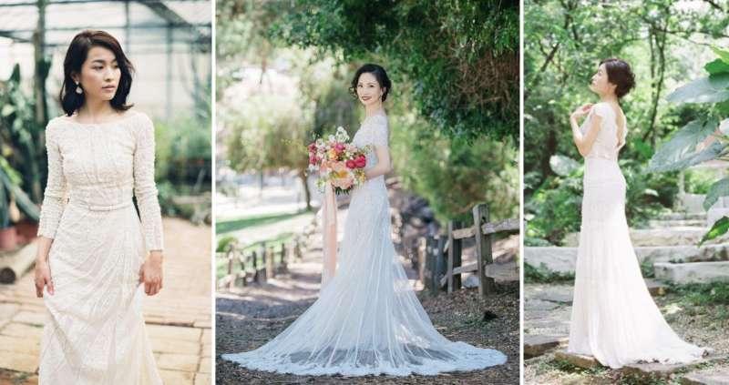 不同元素的禮服都能展現美式婚紗自然清新的樣貌 (圖/唯諾婚紗提供)