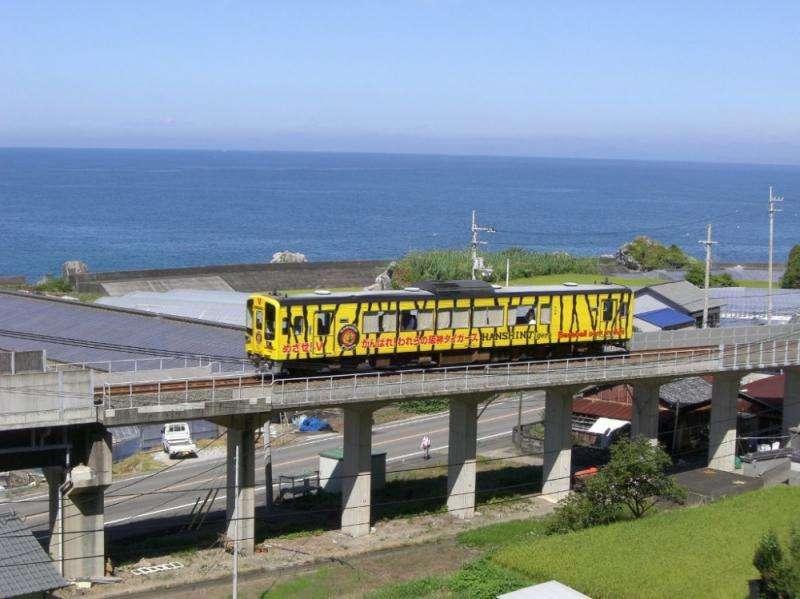 「後免-奈半利線」列車的車身設計豐富多彩,以日本職業棒球隊「阪神虎隊」為概念的列車鮮艷奪目。(圖/高知縣安藝市)