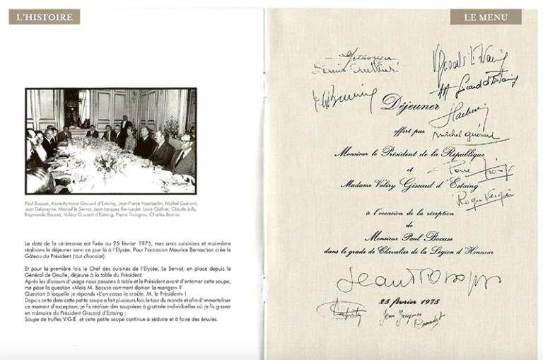 1975年2月25日季斯卡總統邀請包庫斯到艾麗榭宮午宴的邀請函和當天用餐貴賓們的合影 (圖/Agnés Petit – Les bonheurs de Senga)