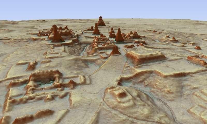 以LiDAR技術繪出的題卡爾遺址3D影像。(AP)