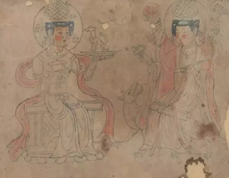 饒宗頤在《敦煌白畫》中提到的二女神像。(國粹讀書)