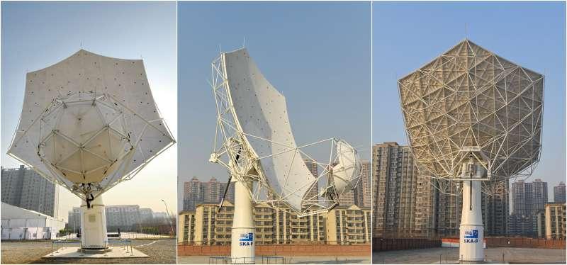 SKA——平方公里陣列射電望遠鏡首台天線樣機的正面(左)、側面(中)和背面(新華社)