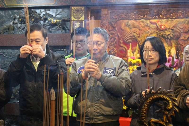 2018年2月9日,台北市長柯文哲凌晨前往萬華的魚類批發市場與第一果菜市場視察(方炳超攝)