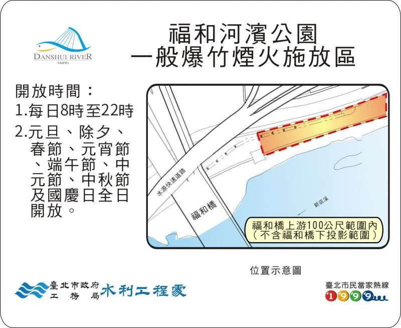 20180212-除夕和初一河濱公園開放的指定區域,福和河濱公園(福和橋上游約100公尺範圍內,不含福和橋下投影範圍)。(台北市水利處提供)